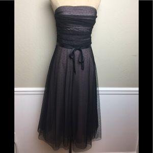 BCBG strapless layered tulle midi dress